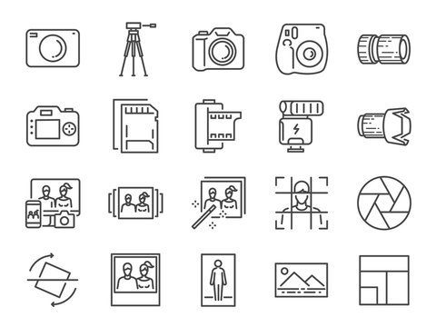 Photo and camera line icon set. Included icons as image, picture, gallery, album, polaroid and more.