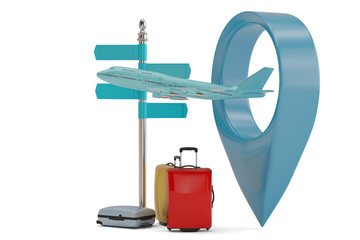 Airplane in map point and suitcase 3D illustration.