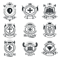 Vintage heraldry design templates, vector emblems. Collection of symbols in vintage style.