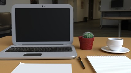 Desktop composition of assorted office elements