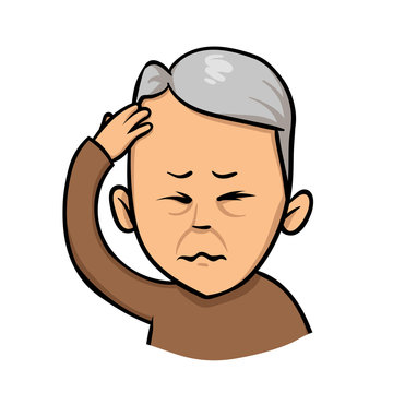 Senior man holding hand to his head. Forgetfulness, headache. Colorful flat vector illustration. Isolated on white background.