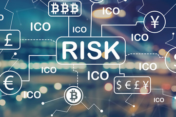 Cryptocurrency risk theme with blurred city abstract lights background