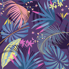 vector seamless beautiful artistic summer pastale bright tropical pattern with exotic forest. Colorful cute original stylish floral background print, bright rainbow colors