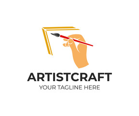 Hand holds an art brush, artist paints picture, logo design. Drawing, art, creativity and inspiration, vector design and illustration
