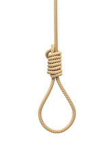 3d rendering of a hangman's noose made of natural beige rope hanging on a white background.