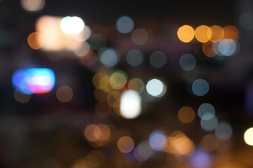 gold, red, white, gray etc., blurry bokeh light in the expressway view Bangkok cityscape for background.