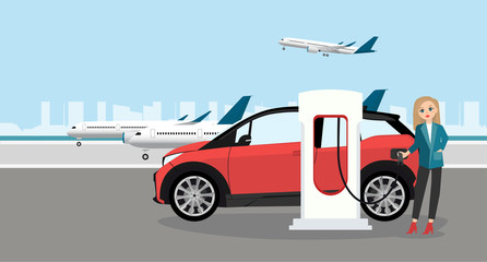 A woman at the airport is renting an electric car. Vector illustration
