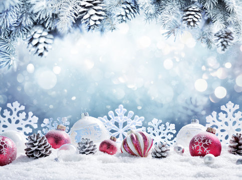 Christmas Card - Baubles On Snow With Snowy Fir Branches