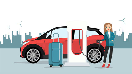 Woman traveler with baggage is renting an electric car. Vector illustration