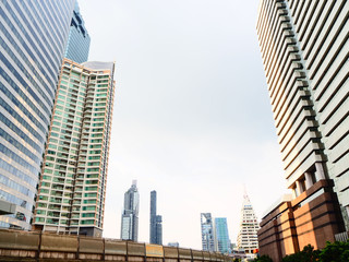 Modern and bottom up view of buildings in Thailand. Economy, finances, business activity concept.