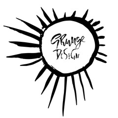 Grunge frame with graphic sunbeams. Vector illustration.
