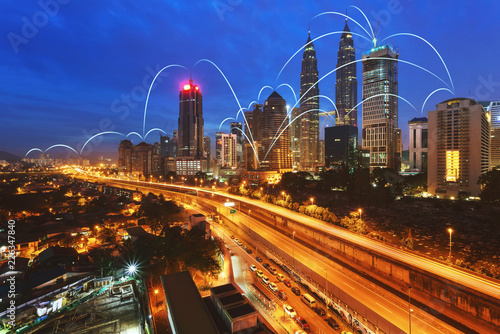 Wall mural Network and Connection city