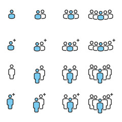 People Business Vector Line Icons , Crowd Work Group Team  Meeting Communication.
