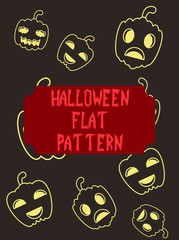 Halloween festive pattern. Endless background with pumpkins, skulls, bats, spiders, ghosts, bones, candies, spider web