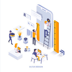Flat color Modern Isometric Illustration design - Ui and Ux Design