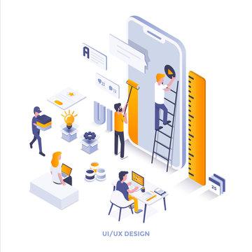Flat color Modern Isometric Illustration design - Ui and Ux Design