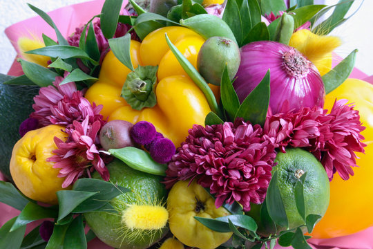 Handmade bouquet of vegetables for birthday