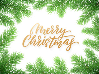 Gold Christmas card lettering on white background with green Christmas trees branches