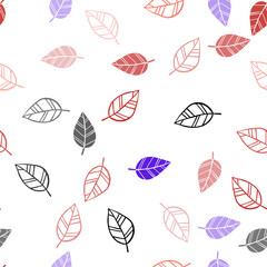Light Blue, Red vector seamless doodle backdrop with leaves.