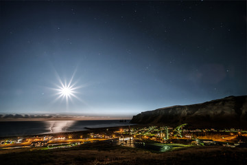 Full moon over Vik in Iceland