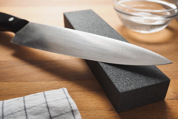 Knife sharpen with professional sharpening whetstone
