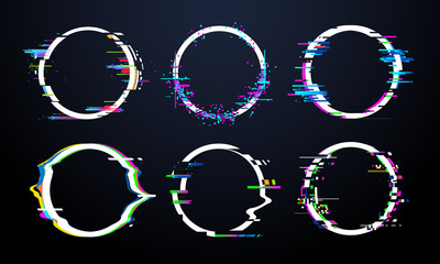 Glitch circle frame. Tv distorted signal chaos, glitched ring light effect distortion frames and flaw glitches bug circles vector set Fototapete