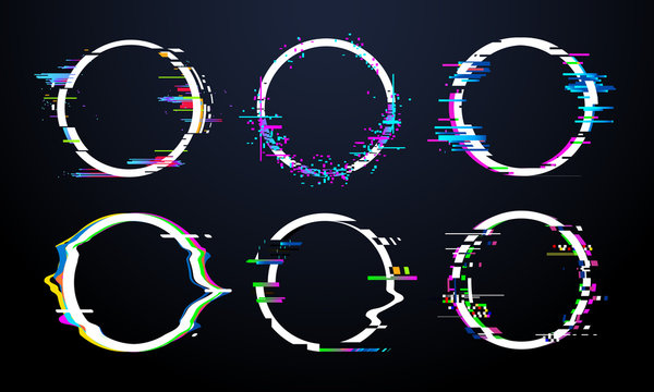 Glitch circle frame. Tv distorted signal chaos, glitched ring light effect distortion frames and flaw glitches bug circles vector set
