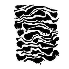 Brush painted wave pattern. Black and white stripes grunge background.