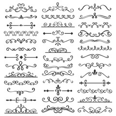 Decorative swirls dividers. Old text delimiter, calligraphic swirl border ornaments and vintage divider vector set
