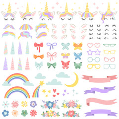Unicorn constructor. Pony mane styling bundle, unicorns horn and party star glasses. Flowers, magic rainbow and head bows vector set