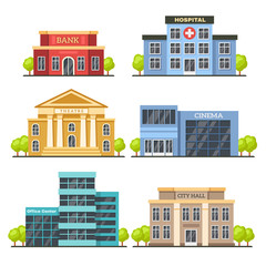 Obraz Flat city buildings. Contemporary office center, hospital facade and city hall building. Modern theater and cinema vector illustration - fototapety do salonu
