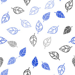 Light BLUE vector seamless elegant pattern with leaves.