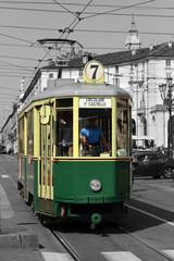 tram a torino in italia, streetcar in turin in italy