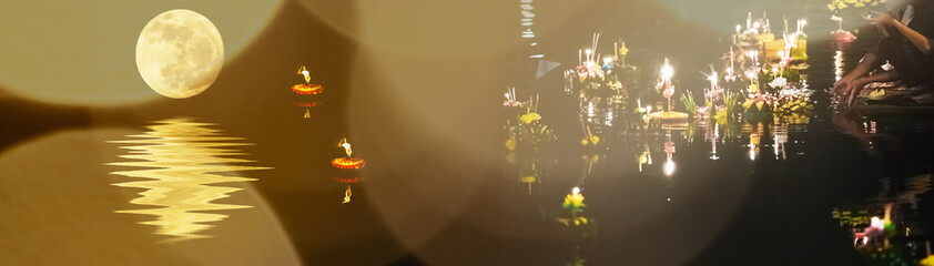 banner design and holiday concept from people pray and hold hand made krathong by flower from loykratong festival in thailand culture on november