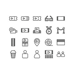 Cinema and Movie Theater Icon Set in Line Version. 32x32 Pixel Perfect. Editable Stroke.
