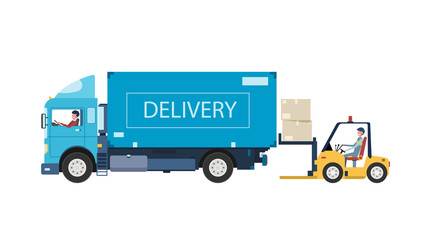 Delivery van and workers.