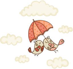 Bird couple under umbrella