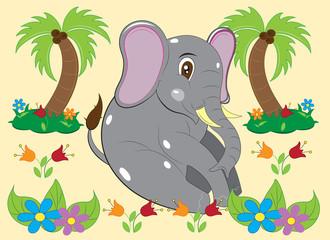 Little elephant in flowers