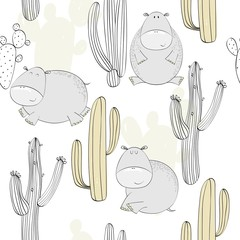 Vector hand drawn seamless pattern with cactuses and hippos.