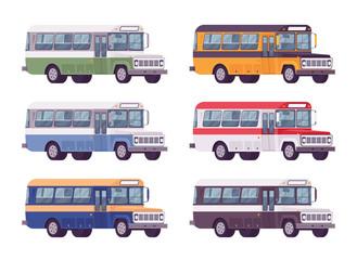 Retro bus set in bright colors