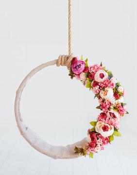 newborn baby photography swing, DIY floral hanging hoop