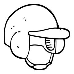 black and white cartoon baseball helmet