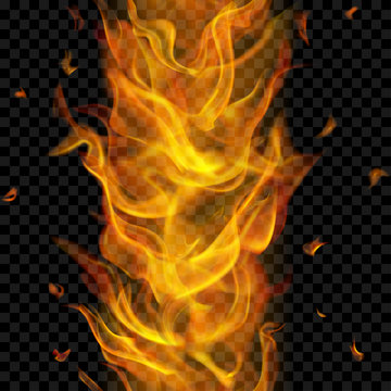 Translucent fire flame with vertical seamless repeat on transparent background. For used on dark backgrounds. Transparency only in vector format