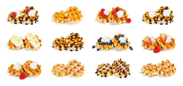 Collection of 12 Liege Style Belgian Waffles with Sweet Toppings Isolated on White Background