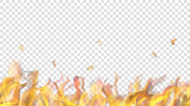 Translucent fire flame with horizontal seamless repeat on transparent background. For used on light backgrounds. Transparency only in vector format