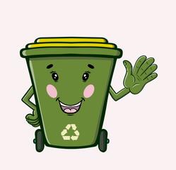 Green Recycle Bin Cartoon Character