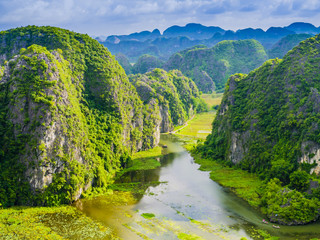 Amazing view of Tam Coc with karst formations and rice paddy fields, Ninh Binh province, Vietnam