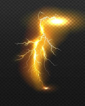 Realistic vector orange lightning on checkered background. Bright, electric lightning.