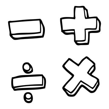 black and white cartoon math symbols
