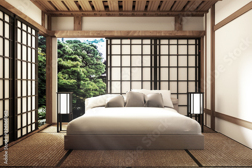 Traditional Japanese Style Bedroom 3d Rendering Stock Photo And
